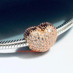 Pandora Rose Gold Pave Heart Clip